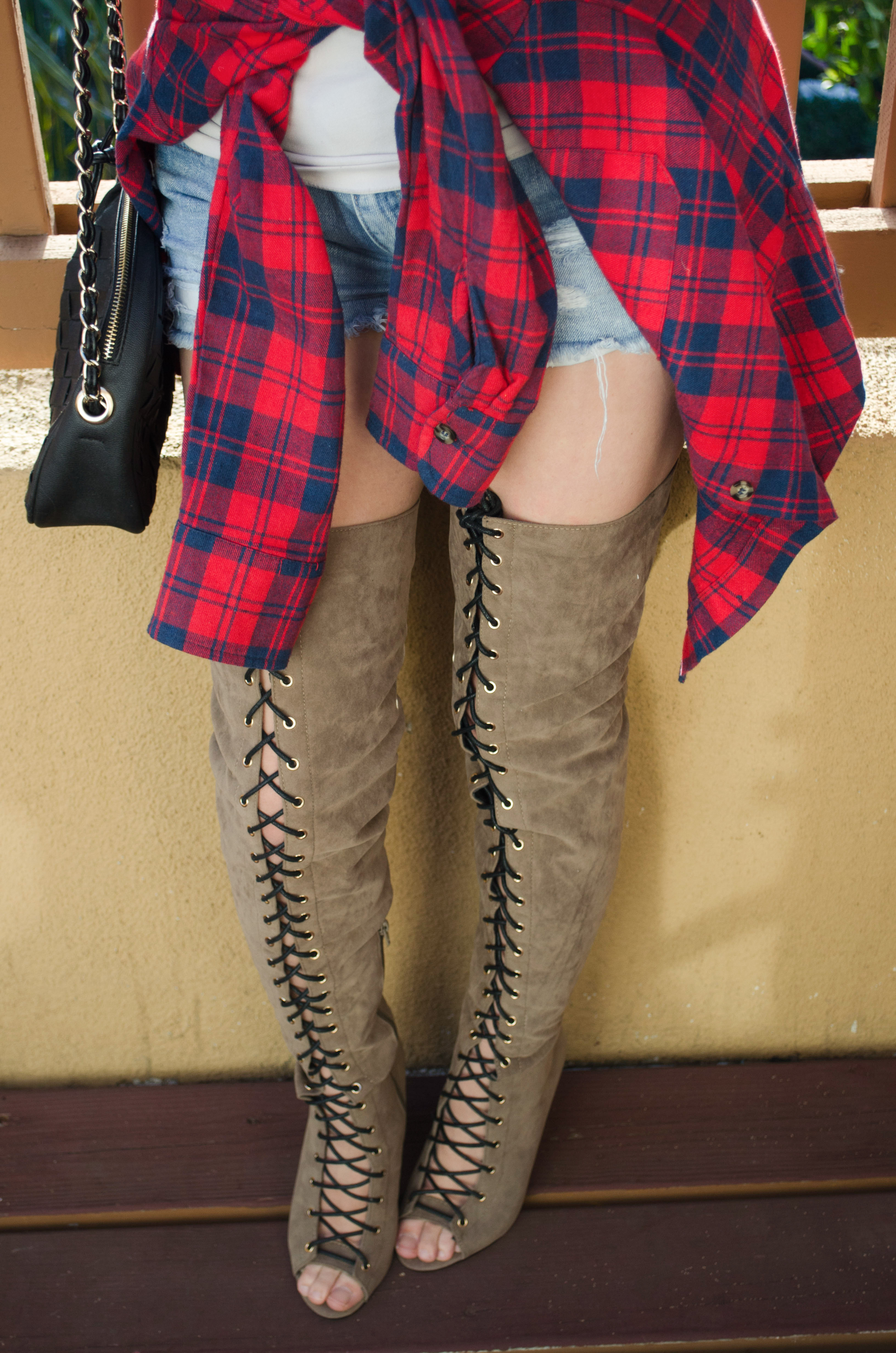 red flannel, jean shorts, lace up boots pic 4