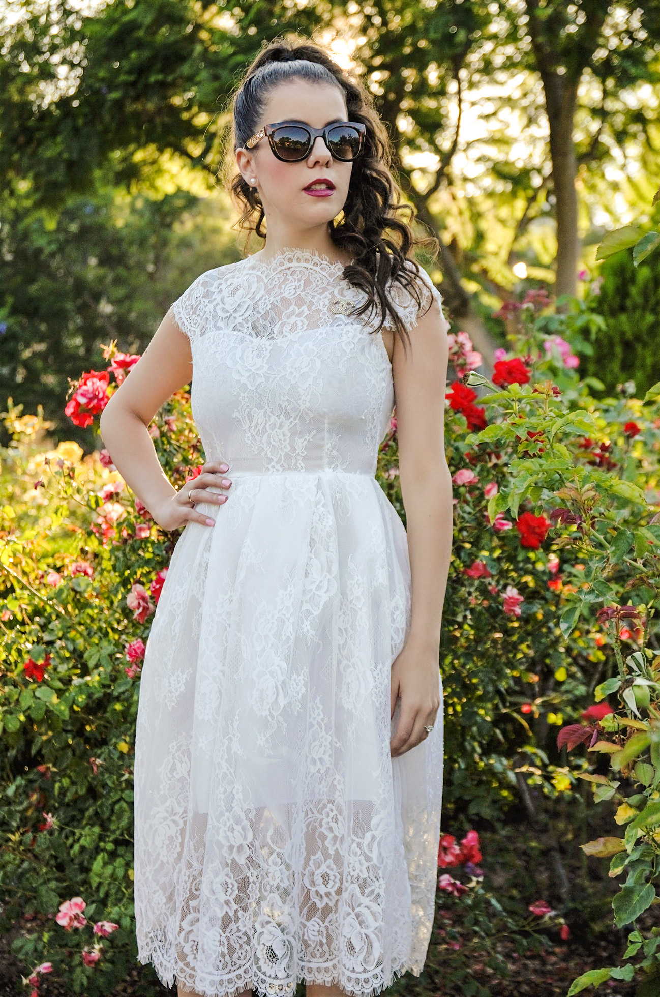 White Lace Cap Sleeve Dress (Sammy Dress)