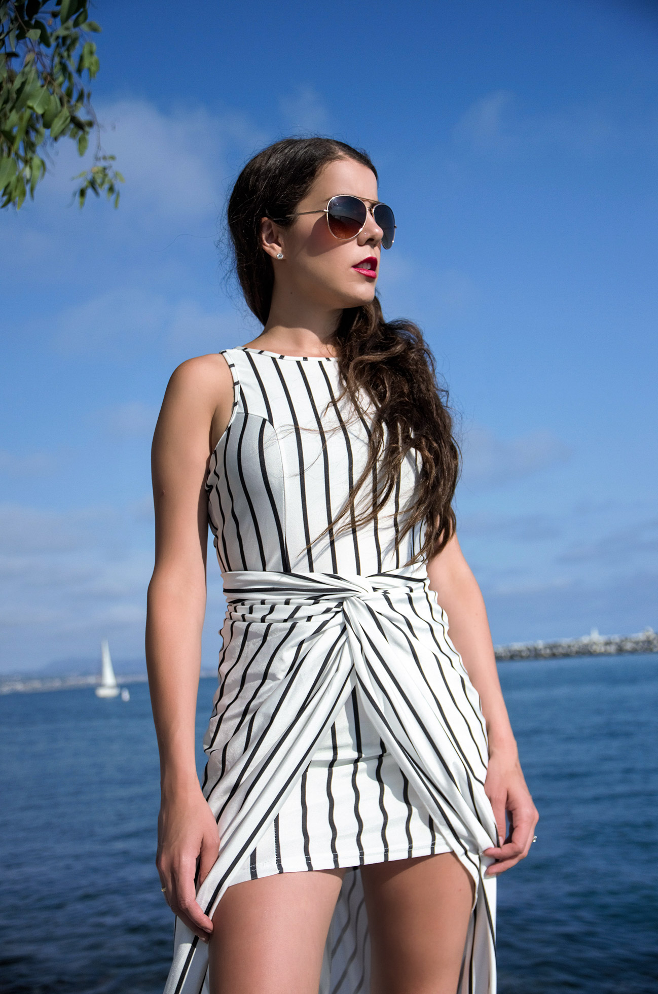 Vertical Stripes Asymmtrical Racerback Maxi Dress Zaful