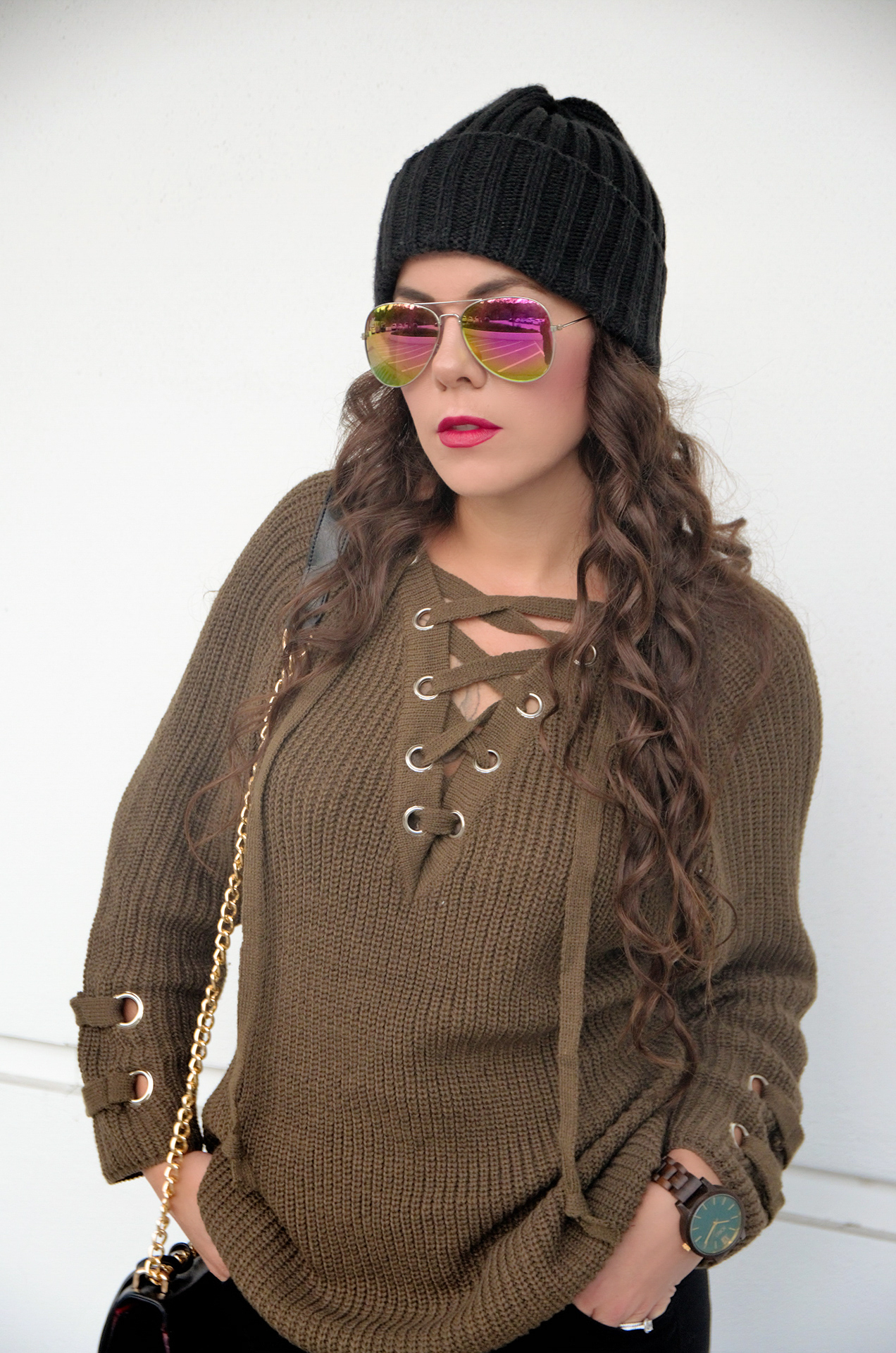 Casual Winter Vibes - Olive Green Lace Up Sweater   Ripped Jeans ... 7efd328db