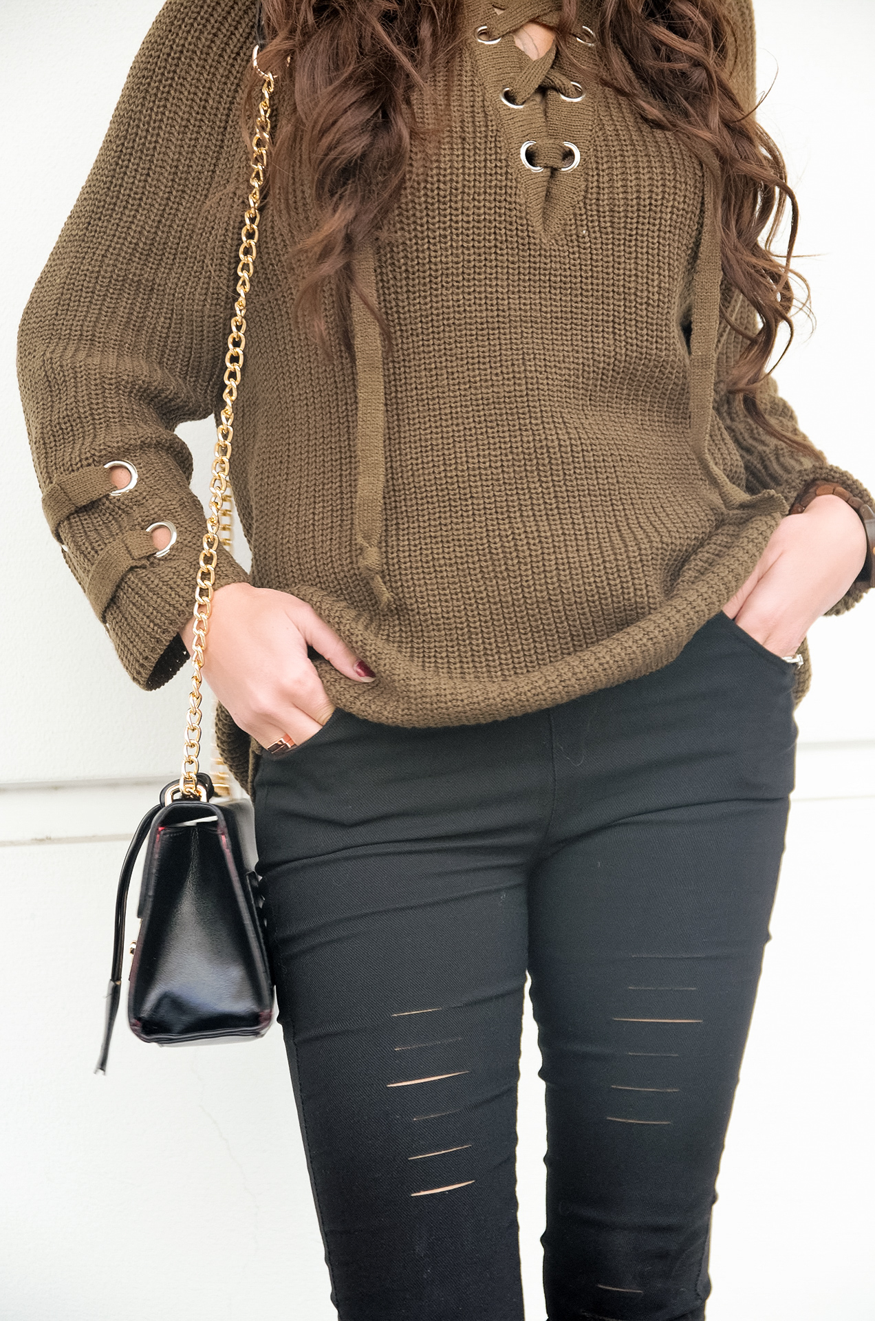 Casual Winter Vibes - Olive Green Lace Up Sweater & Ripped ...