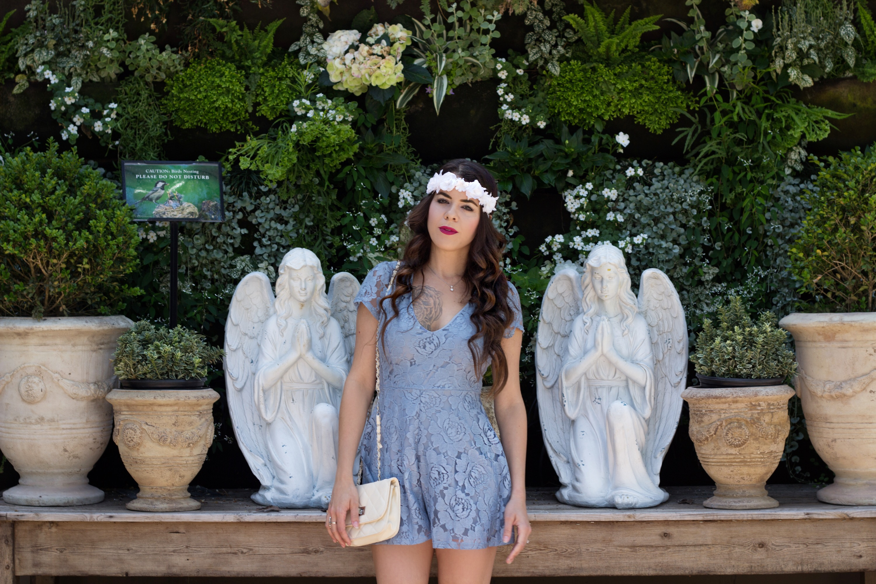 Blue lace romper with Charlotte Russe