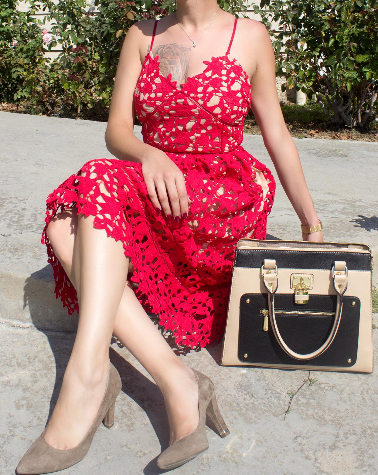 Red Crochet Dress with Zaful x AmberNicoleFashion