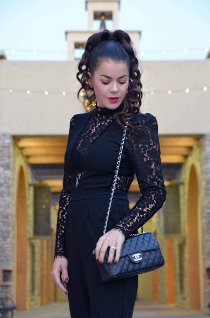 How To Style A Black Lace Jumpsuit With Express Pic 5 Amber Nicole