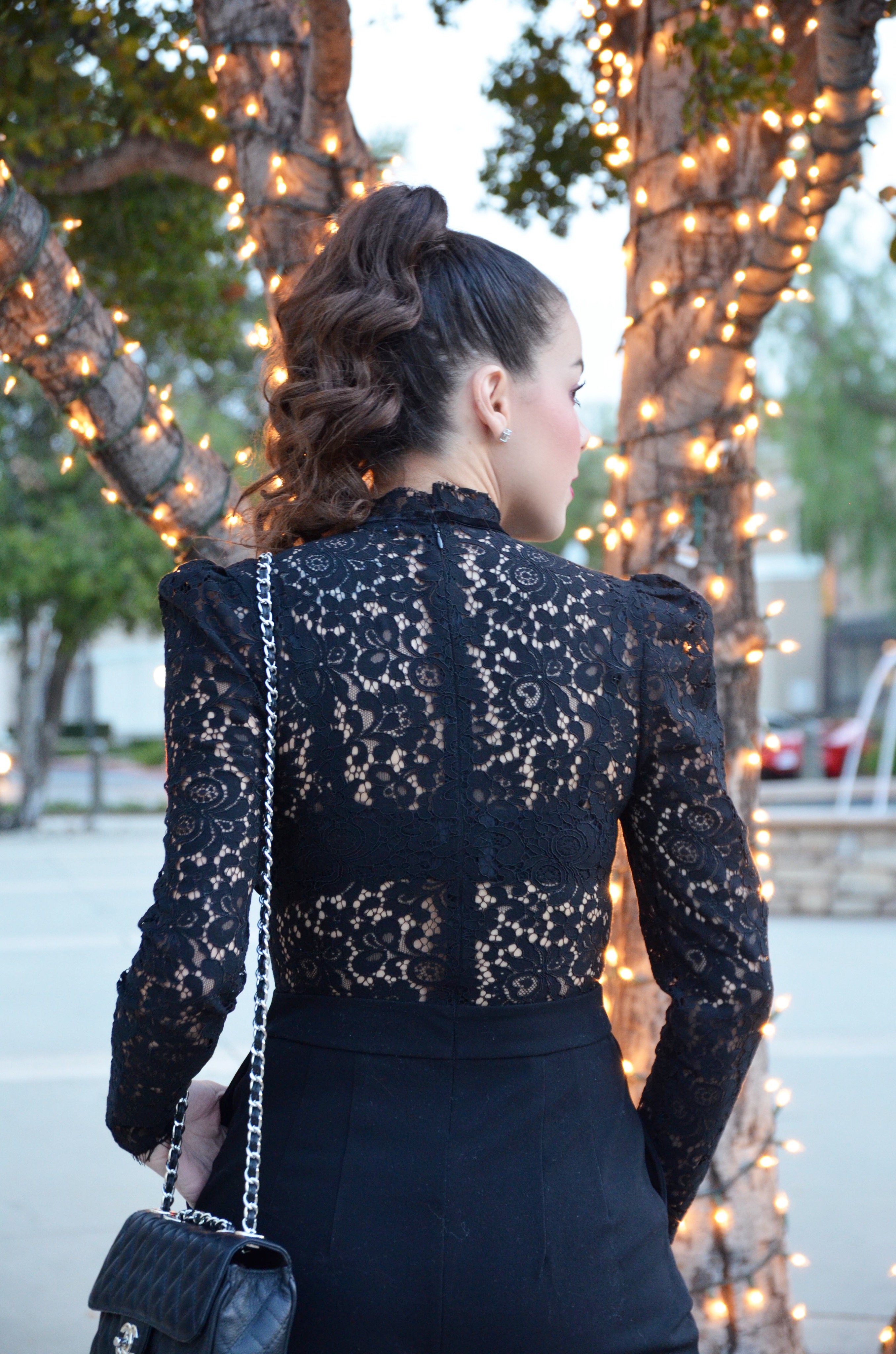 Black Lace Jumpsuit from Express x Amber Nicole Fashion